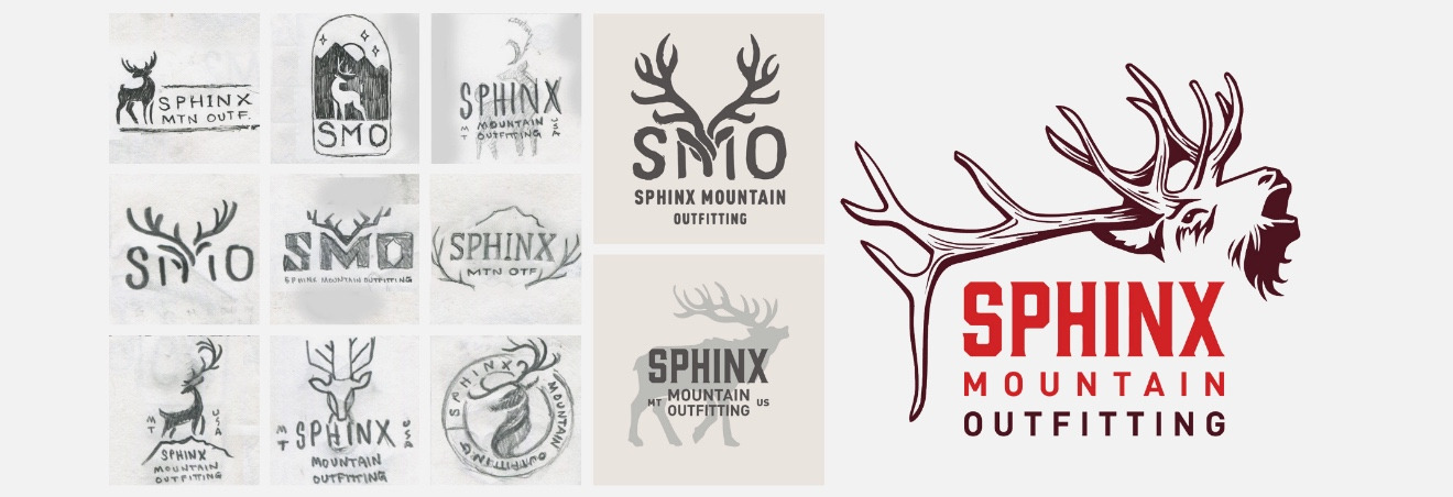 Example branding development for Sphinx Mountain Outiftting from pencil thumbnails, to roughs, to final logo execution.