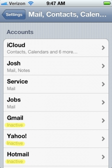 iPhone Email Accounts Preferences