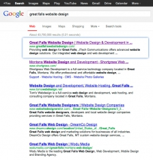 Google Search Results for Great Falls Website Design