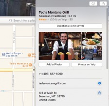 Yelp reviews and images in Apple Maps.