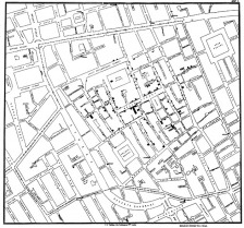 John Snow's famous map of cholera cases during an epidemic in London.