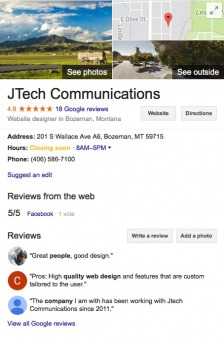 Google my Business reviews.