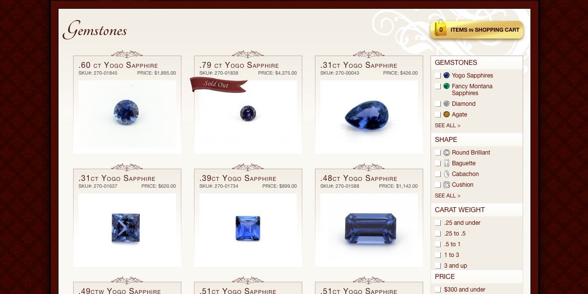 The Gem Gallery uses infinite scrolling.