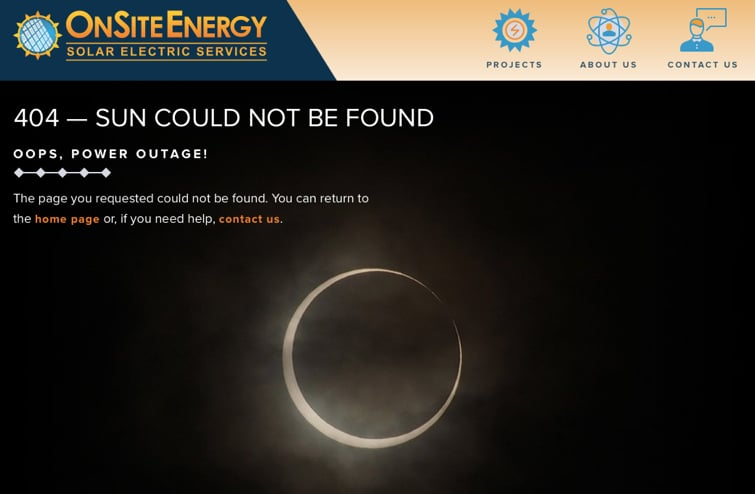 OnSite Energy has a unique 404 Page.