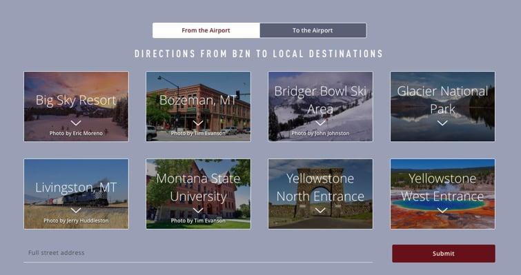 Bozeman Airport destination map.