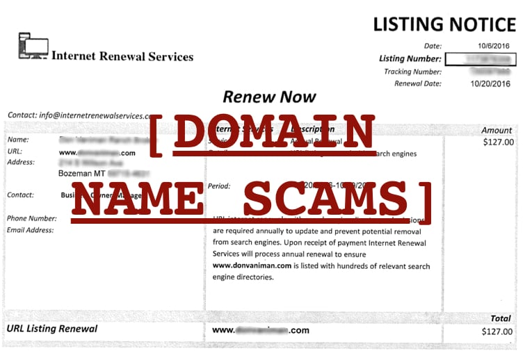 avoiding domain name scams.