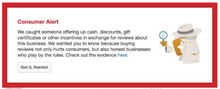 Yelp's consumer alert.