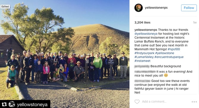 Yellowstone's Instameet was a successful social media marketing event.