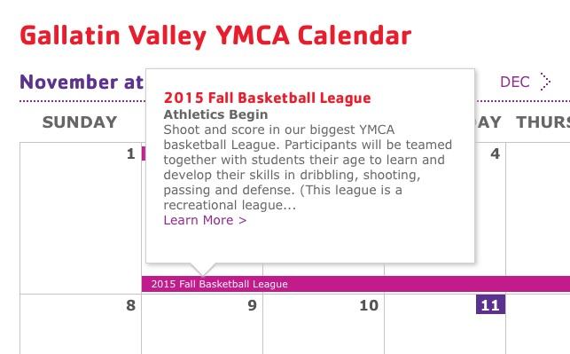 YMCA's calendar.
